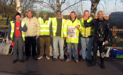 Hanson kiln workers on the picket line in Peterborough
