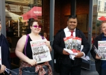 Members of the Bakers Union and SWP leaflet outside fast food restaurants