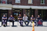 Fighters on the picket line at Central station, Leicester
